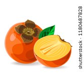 persimmon whole and a piece... | Shutterstock .eps vector #1180687828