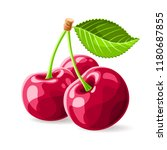 cherries with a leaf on white.... | Shutterstock .eps vector #1180687855