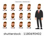 set of business man's facial... | Shutterstock .eps vector #1180690402