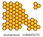 honeycomb wall full of honey as ... | Shutterstock .eps vector #1180695172