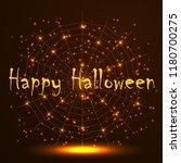 happy halloween. gold polygonal ... | Shutterstock .eps vector #1180700275