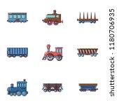 locomotive icons set. cartoon...   Shutterstock .eps vector #1180706935