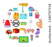 lorry icons set. cartoon set of ... | Shutterstock .eps vector #1180707418