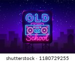 old school neon sign vector.... | Shutterstock .eps vector #1180729255