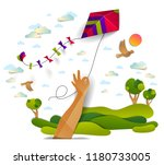 hand holding kite over cloudy... | Shutterstock .eps vector #1180733005