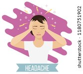 woman suffers from headache and ... | Shutterstock .eps vector #1180751902