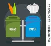 glass paper trash bin concept... | Shutterstock .eps vector #1180752922