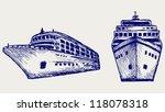Cruise Ship. Doodle Style