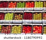 apples boxes divided by quality ... | Shutterstock . vector #1180790992