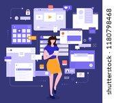 flat design concept social... | Shutterstock .eps vector #1180798468