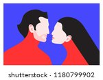 couple in love. two lovers  man ... | Shutterstock .eps vector #1180799902