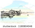 sketch of village with buddhist ... | Shutterstock .eps vector #1180804048