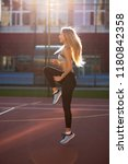 stunning fitness woman in sport ... | Shutterstock . vector #1180842358