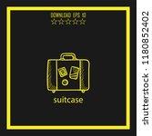 suitcase sketch vector icon