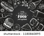 fast food sketch collection.... | Shutterstock .eps vector #1180860895