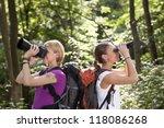 young people trekking among...   Shutterstock . vector #118086268