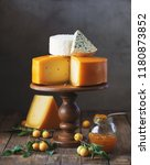 different kinds of cheese with... | Shutterstock . vector #1180873852