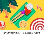 illustration of a girl on a...   Shutterstock .eps vector #1180877395