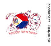 happy new 2019 year with flag... | Shutterstock .eps vector #1180880002