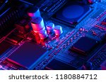 electronic circuit board close... | Shutterstock . vector #1180884712