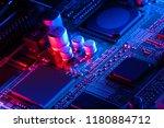 electronic circuit board close... | Shutterstock . vector #1180884712