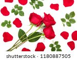 Stock photo beautiful red rose with leaves and petals isolated on white background top view flat lay pattern 1180887505