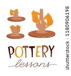 clay pottery lessons. artisanal ... | Shutterstock .eps vector #1180906198