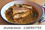 salmon soup  fried onion ...   Shutterstock . vector #1180907755
