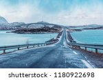 winter road over the sea with... | Shutterstock . vector #1180922698