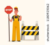 builder with stop sign standing ... | Shutterstock .eps vector #1180925062