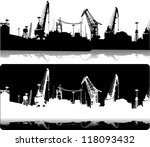 silhouettes of port... | Shutterstock .eps vector #118093432