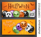 two halloween concepts with 3d... | Shutterstock .eps vector #1180935112
