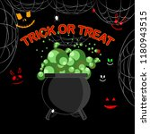 happy halloween. witch cauldron ... | Shutterstock .eps vector #1180943515