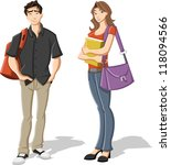 couple of cartoon young... | Shutterstock .eps vector #118094566
