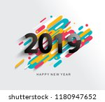creative happy new year 2019... | Shutterstock .eps vector #1180947652