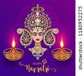 happy navratri festival card... | Shutterstock .eps vector #1180952275