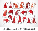 set of doodle christmas hats on ... | Shutterstock .eps vector #1180967578