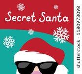 cartoon secret santa christmas... | Shutterstock .eps vector #1180973098