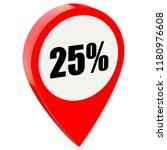 25 percent off on glossy red... | Shutterstock . vector #1180976608