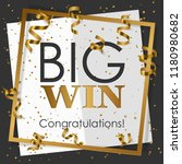 gold big win in gold frame with ... | Shutterstock .eps vector #1180980682