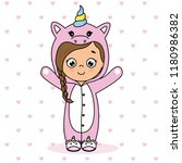 sweet girl disguised as a... | Shutterstock .eps vector #1180986382