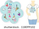 rabbit t shirt design | Shutterstock .eps vector #118099102