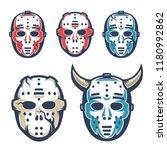 hockey goalie mask. retro...   Shutterstock .eps vector #1180992862