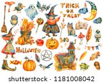 watercolor halloween party... | Shutterstock . vector #1181008042