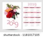 calendar 2019. colorful... | Shutterstock .eps vector #1181017105