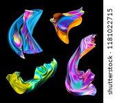 3d render  iridescent... | Shutterstock . vector #1181022715