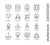 set of 16 simple line icons... | Shutterstock .eps vector #1181023165