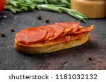 bruschetta with chorizo | Shutterstock . vector #1181032132