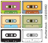 Realistic illustration of colorful radio cassettes tapes - stock vector