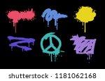 text frame with brush. splash... | Shutterstock .eps vector #1181062168